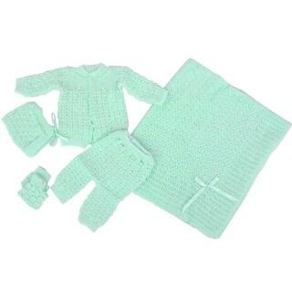Baby Boy Girl Green Pants Hat Booties Sweater Blanket Newborn Set