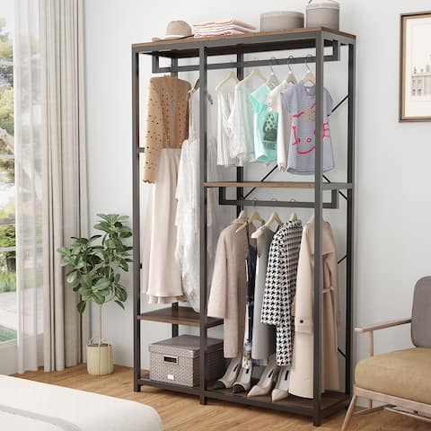 Double Rod Closet Organizer with 3 Shelves