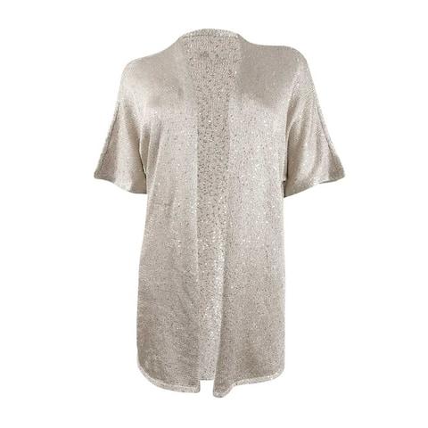 INC International Concepts Women's Sequin Cardigan (S, Gold)