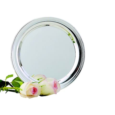 """10"""" Round Silver Stainless Steel Tray"""