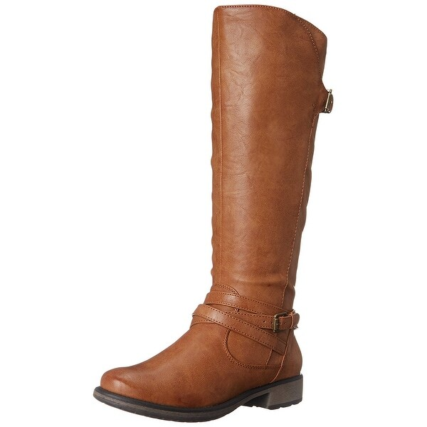 Bare Traps Womens Susanna 2 Leather Almond Toe Mid-Calf Riding Boots