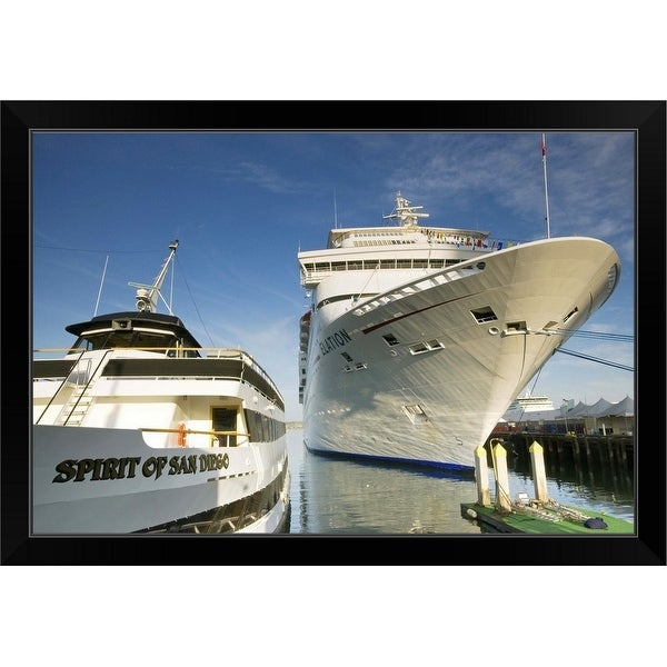 """""""Carnival Elation cruise ship and Spirit of San Diego excursion yacht"""" Black Framed Print"""