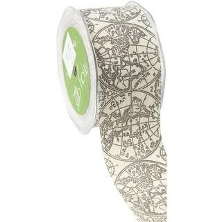 "Ivory Print Ribbon 2""X20yd-Globe"