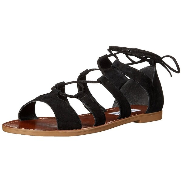 Steve Madden Womens Sanndee Leather Open Toe Casual Gladiator Sandals