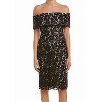 Eliza J Black Women Size 12 Floral Lace Off-Shoulder Sheath Dress