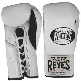 Cleto Reyes Official Lace Up Competition Boxing Gloves - White
