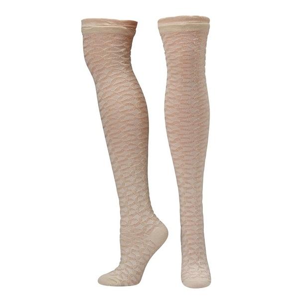 Blazin Roxx Socks Womens Knee High Honeycomb Pattern Cream 0