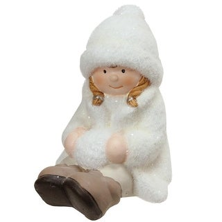 """4.75"""" Creamy White Sitting Girl with Snowball Christmas Table Top Figure"""