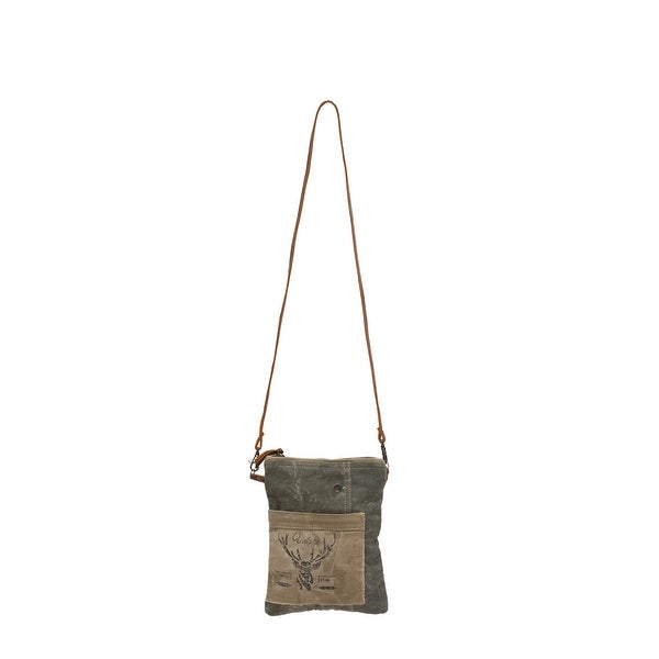 Vintage Deer Print Upcycled Canvas and Genuine Leather Small Crossbody Bag