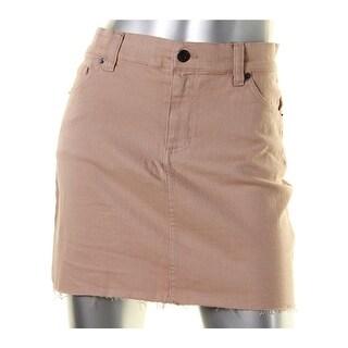 Bardot Womens Denim Skirt Raw Hem Twill - 28