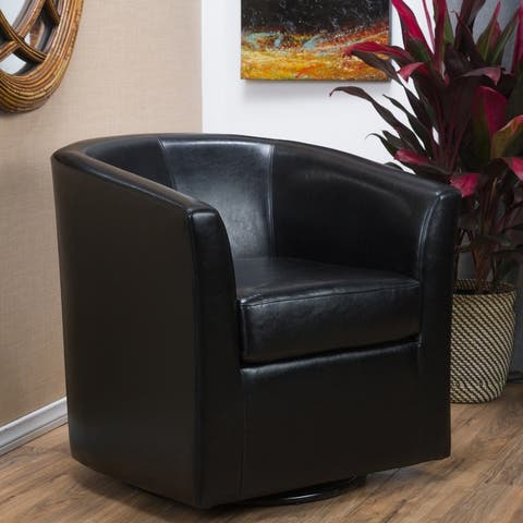 "Christopher Knight Home Daymian Faux Leather Swivel Club Chair - 30.25""H x 30""W x 29""L"