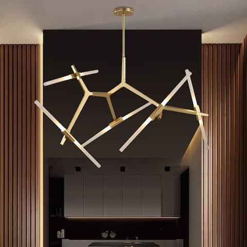 10 Light Brass Branch Asymmetric Modern Chandelier For Living Room