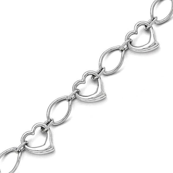 Chisel Stainless Steel Polished Hearts Bracelet