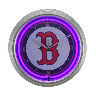 MLB Boston Red Sox 15 inch Neon Wall or Tabletop Clock - Blue