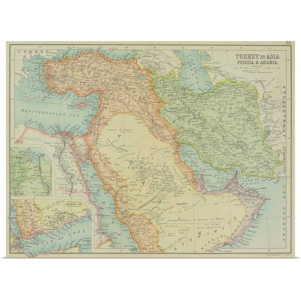 """""""Antique map of Turkey in Asia, Persia and Arabia"""" Poster Print"""