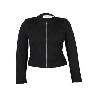 Calvin Klein Women's Zipper Front Collarless Blazer