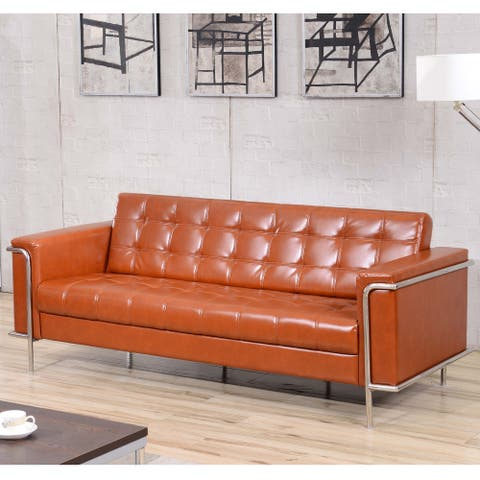 Contemporary LeatherSoft Double Stitch Detail Sofa