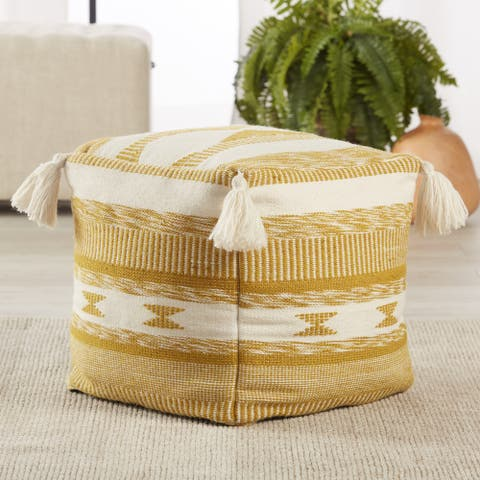"""Romola Indoor/ Outdoor Tribal Gold/ White Cube Pouf - 16""""X16""""X16"""""""