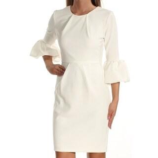 Womens White Bell Sleeve Mini Sheath Casual Dress Size: 2