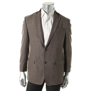 Sean John Mens Herringbone Faux Leather Trim Blazer - 40L