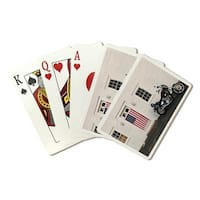 Motorcycle & American Flag - LP Photography (Poker Playing Cards Deck)