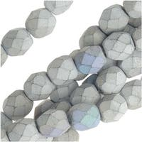 Czech Fire Polished Beads, Faceted Round 6mm, 25 Pieces, Satin Matte Silver