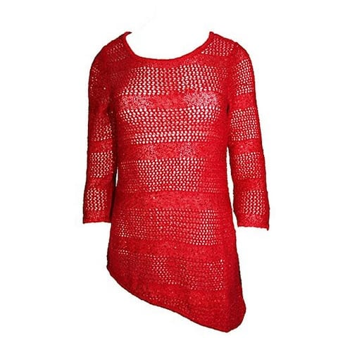 INC International Concepts Women's Sequined Red Knit Sweatshirt (M) - Medium