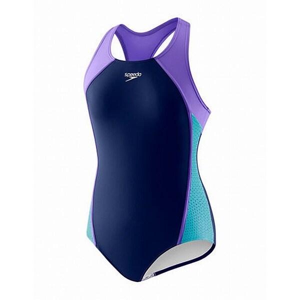 4cd6987e9924b Speedo Blue Purple Girl's Size 16 One-Piece Mesh Colorblock Swimwear