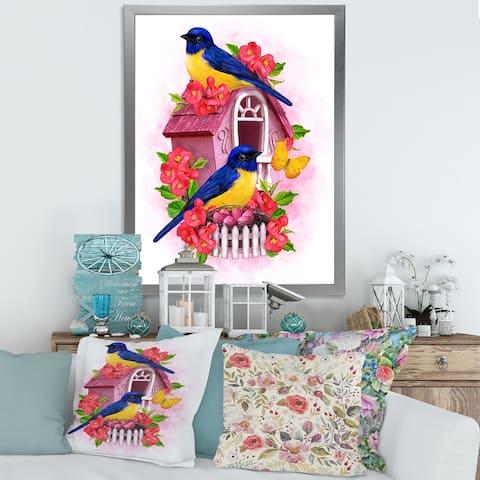 Designart 'Two Blue & Yellow Tit Birds Sitting Near The Nest' Traditional Framed Art Print