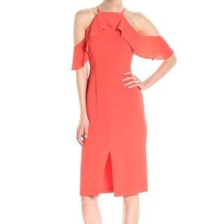 Maggy London Orange Womens Size 16 Cold Shoulder Sheath Dress