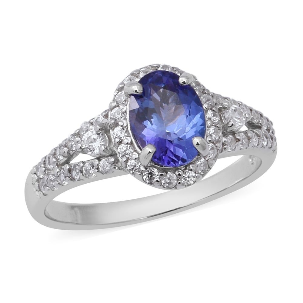 925 Sterling Silver Platinum Over Blue Tanzanite Cluster Ring Gift Size 7 Ct 1
