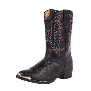 Durango Western Boots Boys Lizard Print Cowboy Heel Black Chrome