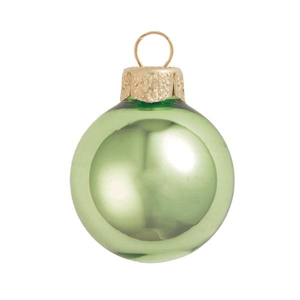 "40ct Shiny Lime Green Glass Ball Christmas Ornaments 1.5"" (40mm)"