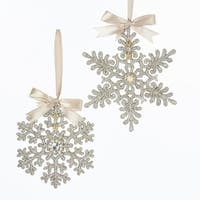 """Pack of 24 Silver Colored Glittering Finished Snowflake Shaped Ornaments 6"""""""