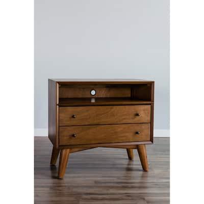 Alpine Furniture Flynn Large Wood 2 Drawer Nightstand in Acorn (Brown)