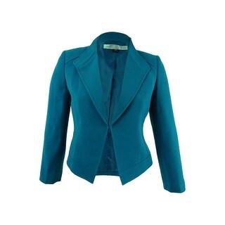 Tahari ASL Women's Wing-Collar Seamed Jacket - gotham blue