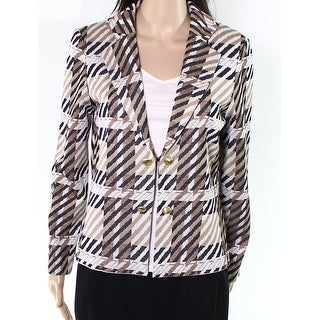 Ming Wang NEW Brown Womens Size Small S Printed Textured Knit Blazer