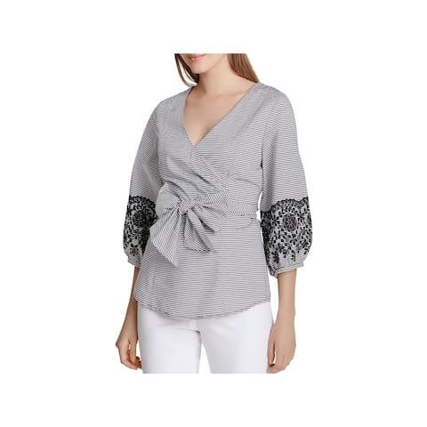 Calvin Klein Womens Wrap Top Embroidered Poplin