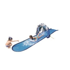 "196"" Blue and White ""Ice Breaker"" Inflatable Ground Level Water Slide"