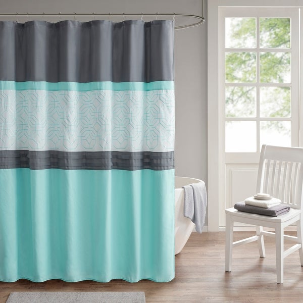 Shane Embroidered and Pieced Shower Curtain by 510 Design. Opens flyout.