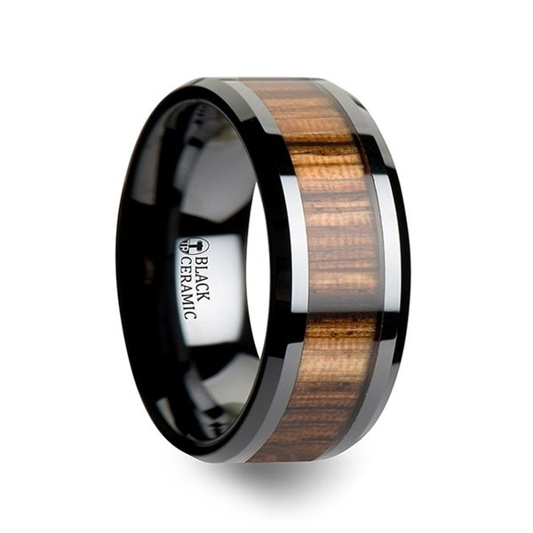 THORSTEN - ZEBRANO Black Ceramic Ring with Beveled Edges and Real Zebra Wood Inlay - 10mm