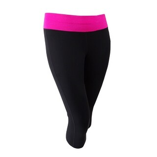 Ideology Women's Plus Size Breast Cancer Awareness Crop Leggings (2X, Noir) - Noir