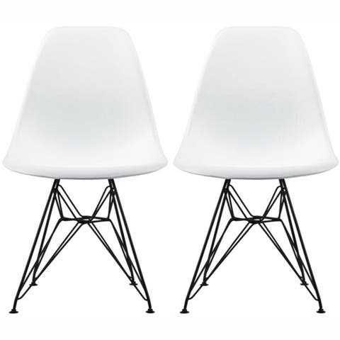 Molded Armless Plastic Dining Room Chairs (Set of 2)