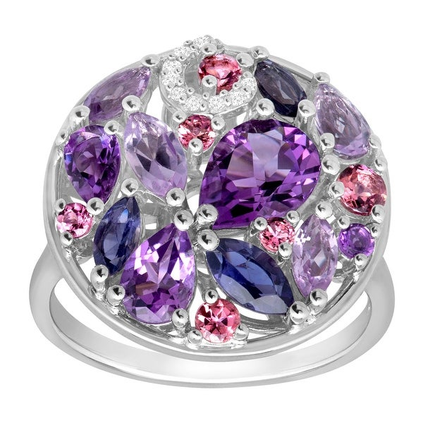 3 ct Natural Multi-Stone Ring with Diamonds in Sterling Silver - Purple
