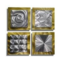 Statements2000 Gold/Silver Metal Wall Art Accent Sculpture by Jon Allen (Set of 4) - Phenomena