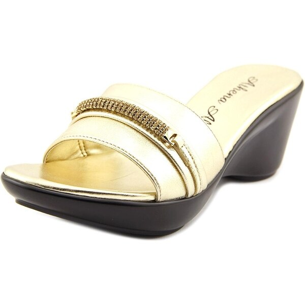 Athena Alexander Maiden Women Open Toe Synthetic Gold Slides Sandal