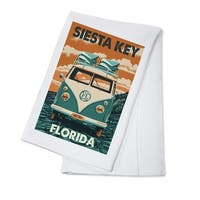 Siesta Key, FL - VW Van - Letterpress - LP Artwork (100% Cotton Towel Absorbent)