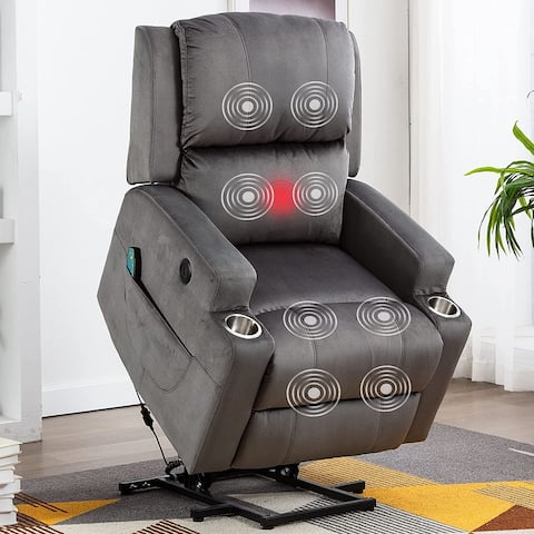 Power Lift Recliner Chair with 8 Point Massage with 2 Cup Holders