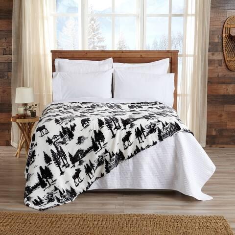 Great Bay Home Velvet Plush Lodge Theme Printed Bed Blanket