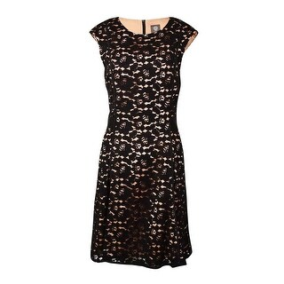 Vince Camuto Women's Piped Lace A-Line Dress - Black